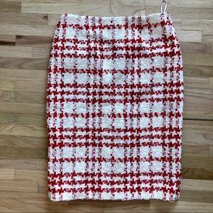 ESCADA Red and cream tweed skirt
